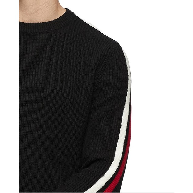 Calvin Klein Men's Ribbed Striped-Sleeve Sweater Charcoal Size X-Small