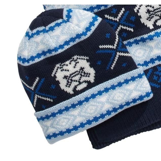 Club Room Men's Bulldog Hat & Scarf Set Blue Size Regular