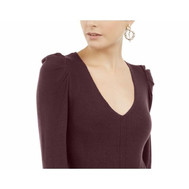 INC International Concepts Women's Puff-Sleeve Sweater Wine Size L