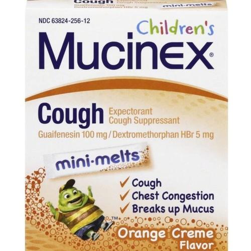 Mucinex Children's Mini Melts Expectorant Cough Suppressant, Orange Creme,