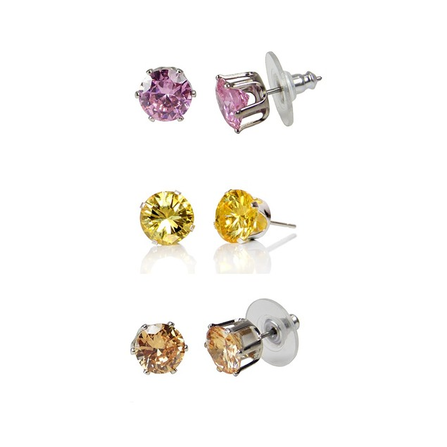 Silver Luxury Cubic Zirconia Earrings - Assorted Colors