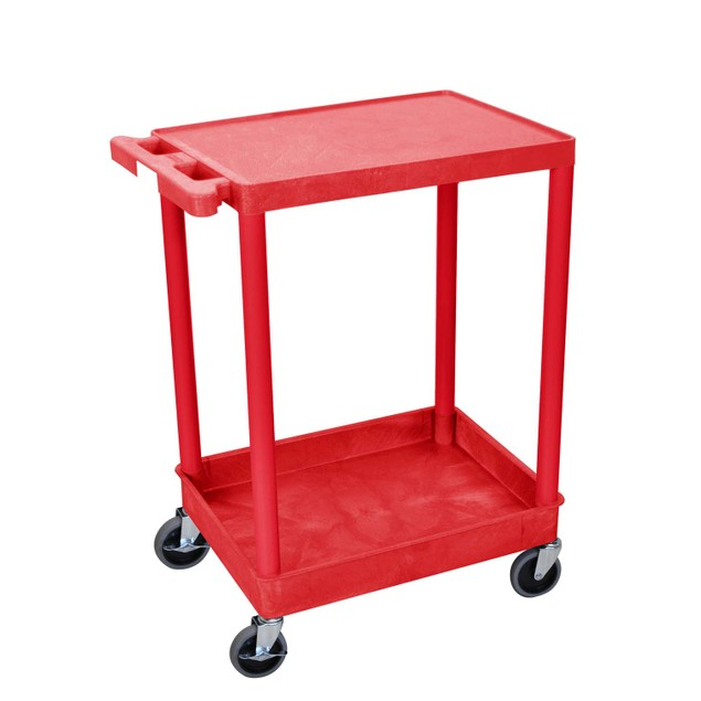 """Luxor 36"""" Top Flat and Bottom Tub Shelves Utility Cart - Red"""