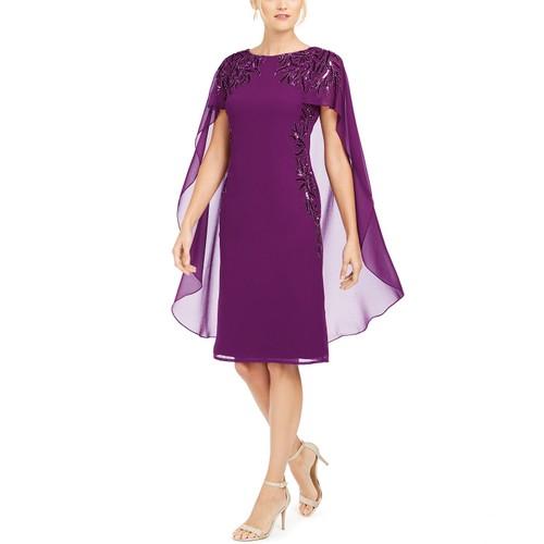 Adrianna Papell Women's Beaded Cape Sheath Dress Purple Size 0