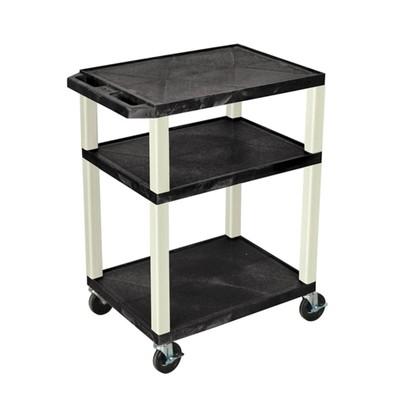 "Luxor 34"" Three Flat Shelves AV Electric Cart - Putty Legs, Black"