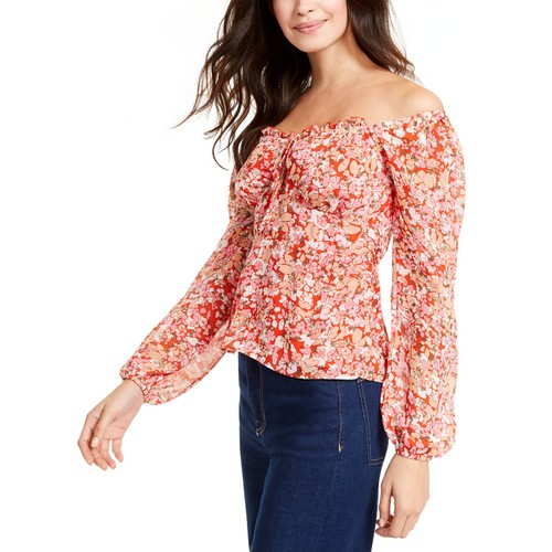 Q & A Women's Floral-Print Off-The-Shoulder Top Red Size Large