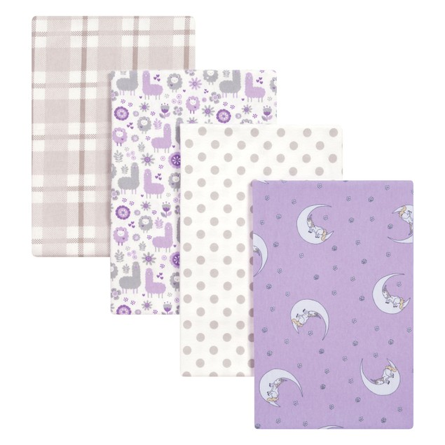 Trend Lab Llamas and Unicorns Flannel Kids Blankets- 4 Pack