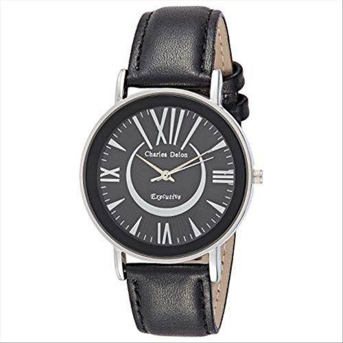 Charles Delon Men's Watches 5740 GIBB Black/Silver Stainless Steel Quartz Round