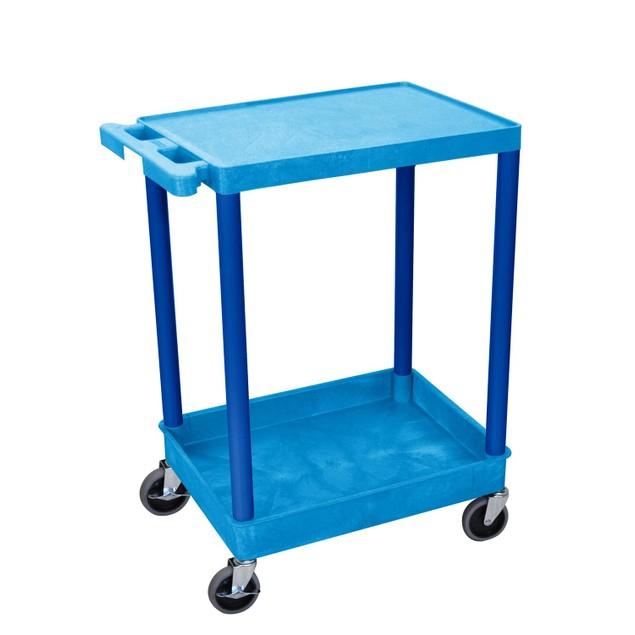 "Luxor 36"" Top Flat and Bottom Tub Shelves Utility Cart - Blue"