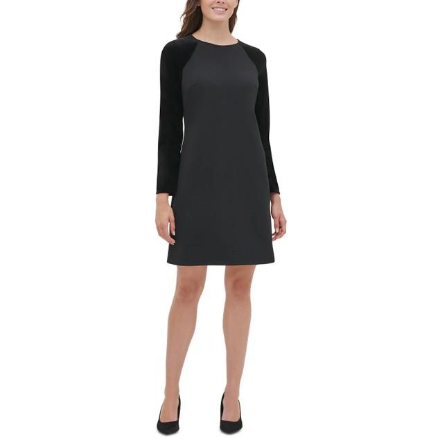 Tommy Hilfiger Women's Velvet Sleeve A Line Dress Black Size 2