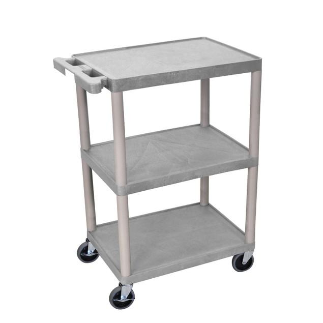 "Luxor 34"" Three Flat Shelves Structural Foam Utility Cart - Gray"