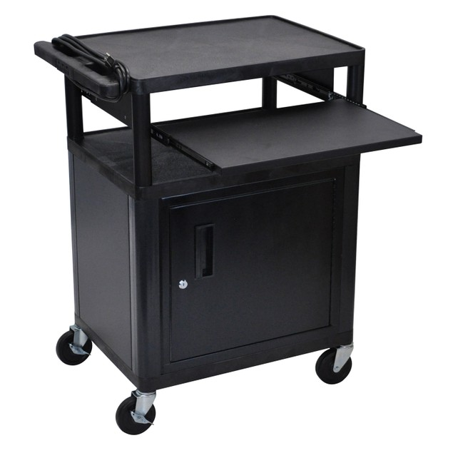 """Luxor 34"""" Three Shelves AV Electric Cart with Cabinet and Pullout - Black"""