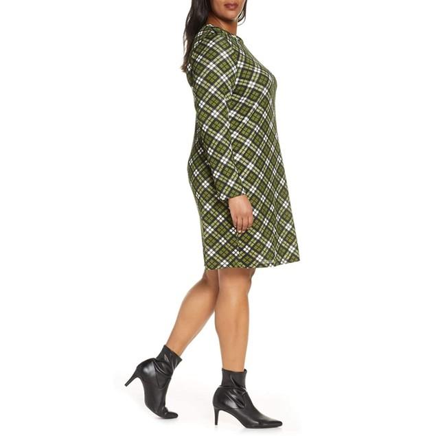 Michael Kors Women's Plus Plaid Long Sleeve Shift Dress Green Size 3X