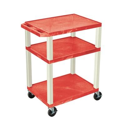"Luxor 34"" Three Flat Shelves AV Electric Cart - Putty Legs, Red"