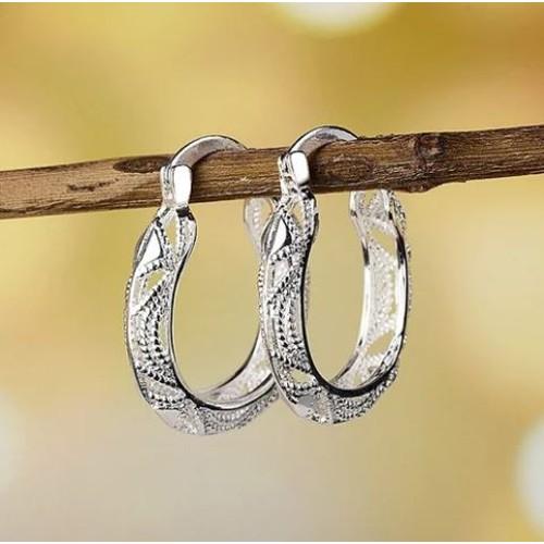 Sterling Silver Cut Out Fancy Hoop Earrings