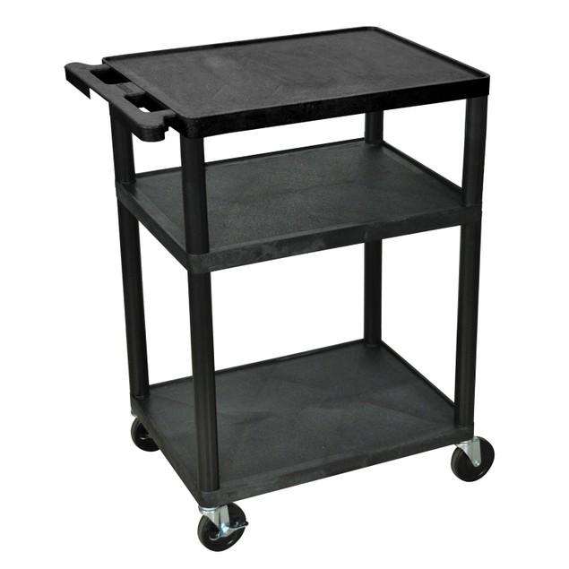 """Luxor 34"""" Three Flat Shelves AV Cart - Black, 2 Pack"""