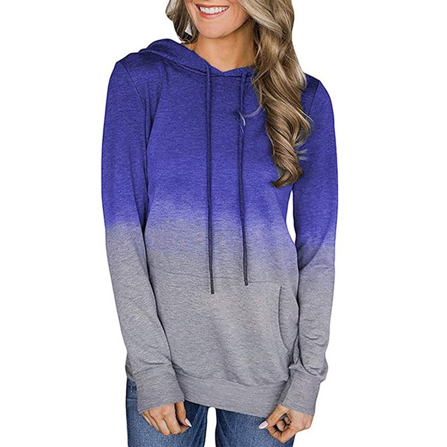 Lilly Posh Long Sleeve Ombre Hoodie Shirt