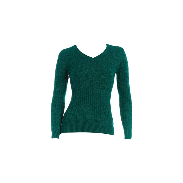 Karen Scott Women's Cotton V-Neck Sweater Green Size X-Small