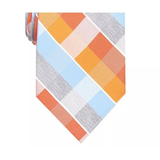 Perry Ellis Men's Oxford Classic Plaid Tie Yellow Size Regular