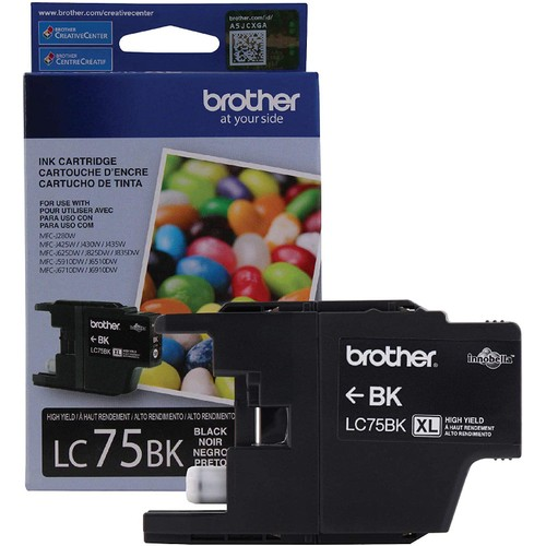 Brothers Brother Genuine High Yield Black Ink Cartridge, LC75BK, Replacement Black Ink, Page Yield Up To 600 Pages, LC75