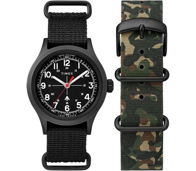 Timex X Todd Snyder Military Inspired Fabric Watch with Extra Strap Was: $148 Now: $59.99.