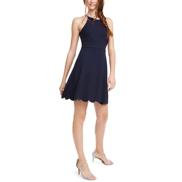Emerald Sundae Juniors' Scalloped Fit & Flare Dress Brightblue Size Xl