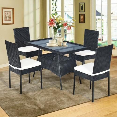 Costway 5PCS Patio Rattan Dining Set  Table w/Glass Top Garden Furniture