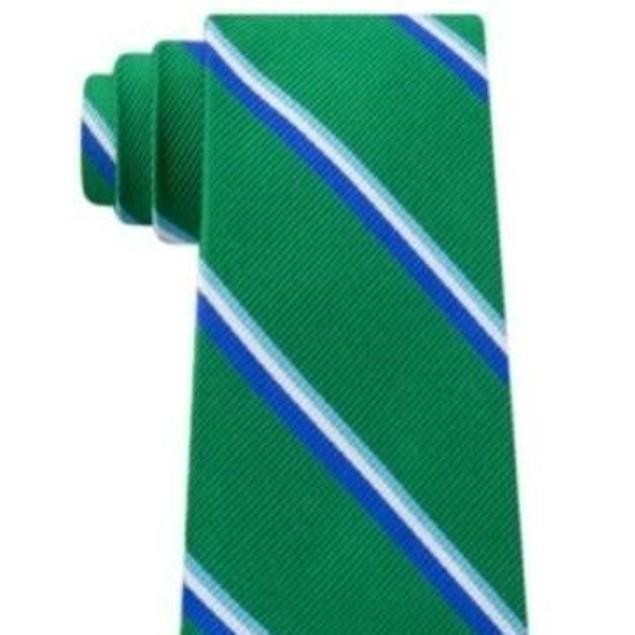 Tommy Hilfiger Men's Bronx Stripe Silk Tie Green Size Regular