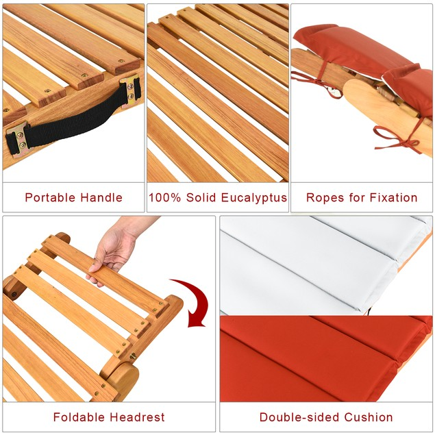Costway Folding Wooden Outdoor Lounge Chair Chaise Red/White Cushion Pad Po