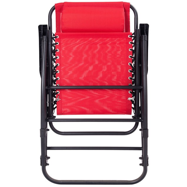Costway Folding Zero Gravity Rocking Chair Rocker Porch Outdoor Patio Headr