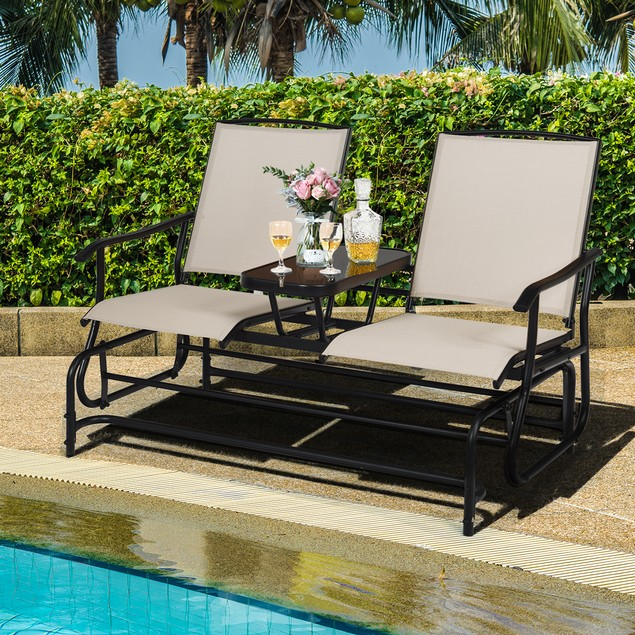 Costway 2 Person Patio Double Glider Loveseat Rocking with Center Table