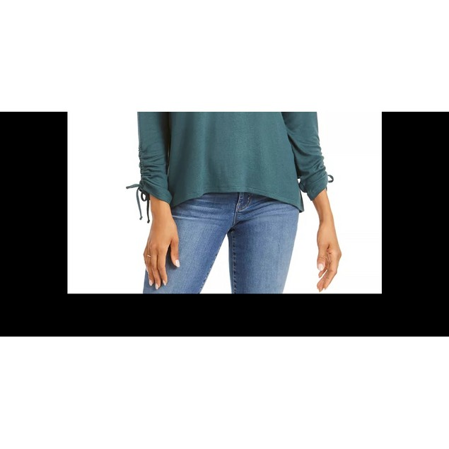 Style & Co Women's Drawstring Tie-Cuff Top Med Green Size Large