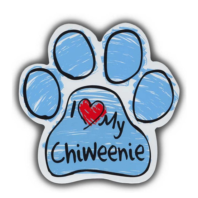 Blue I Love My Chiweenie Scribble Paw Magnet