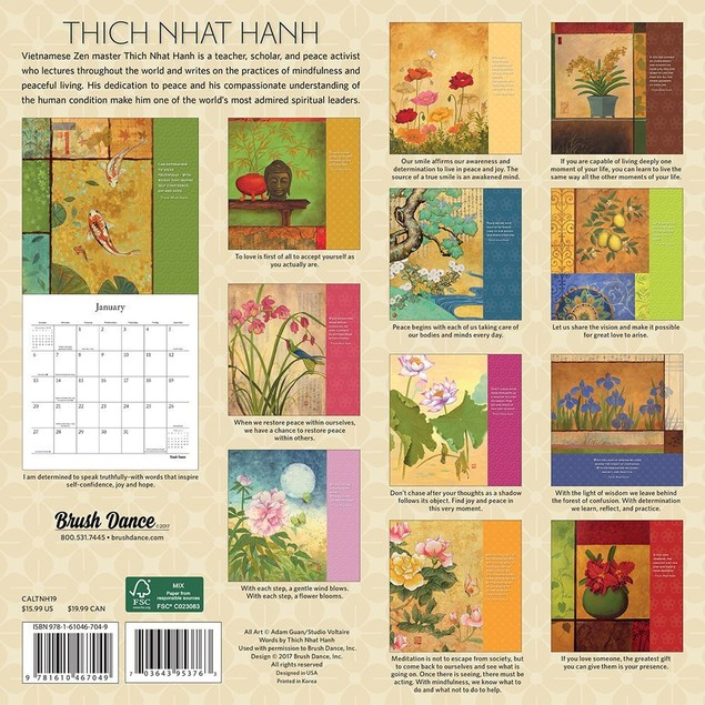 Thich Nhat Hanh Wall Calendar, Eastern Religion by Calendars