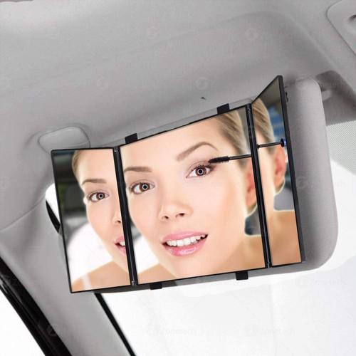 Zone Tech Car Folding Visor Vanity Mirror Makeup Travel Cosmetic Tri-Fold