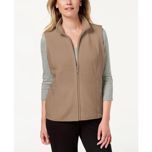 Karen Scott Women's Fleece Zip Front Vest Brown Size Petite Medium