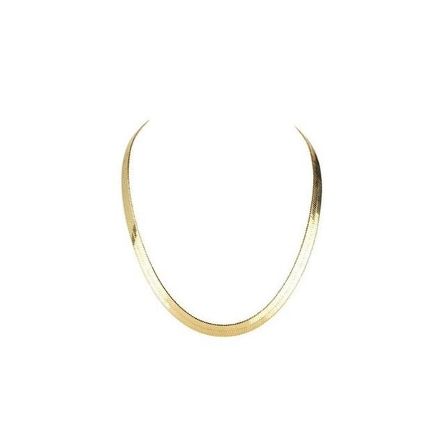 14K Gold Plated Flat Herringbone Magic Chain Necklace 20'' for Men Women Unisex Teens