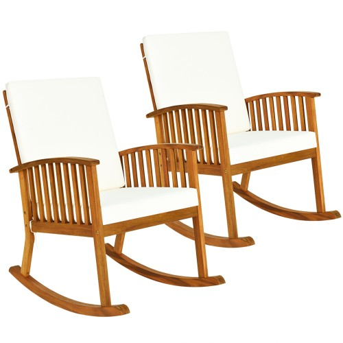 Costway 2PC  Acacia Wood Rocking Chair With Cushions