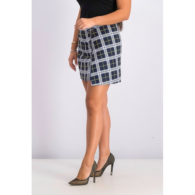 Bar III Women's Asymmetrical Plaid Mini Skirt Navy Size 14