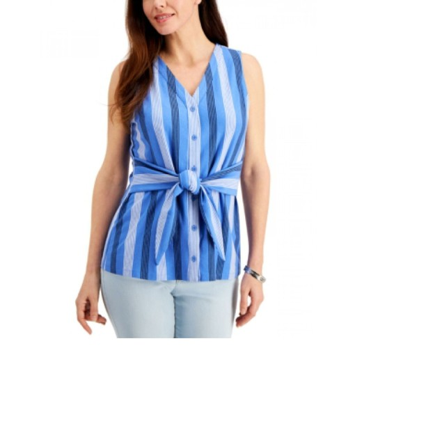 Charter Club Women's Striped Tie-Waist Top Blue Size X-Small