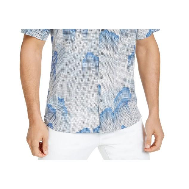 Alfani Men's Fallen Geo Print Shirt Navy Size XX Large