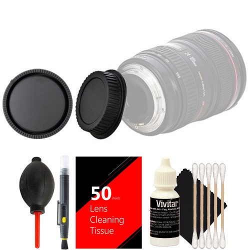 Vivitar Rear & Front Caps for Nikon + Lens Cleaner + Dust Blower + 50 Cleaning Tissue + 3pc Cleaning Kit