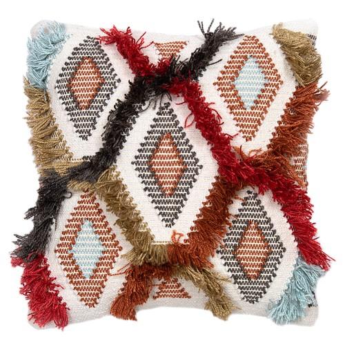 Spura Home Aethra Multi Color Shaggy Stripe Modern 18x18 Pillow Cushion