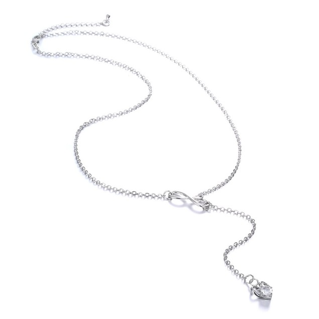 Infinity Heart Crystal Lariat Pendant Necklace