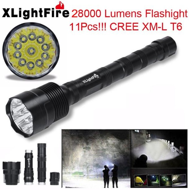 28000 Lumens 11x XML T6 5 Mode 18650 LED Flashlight