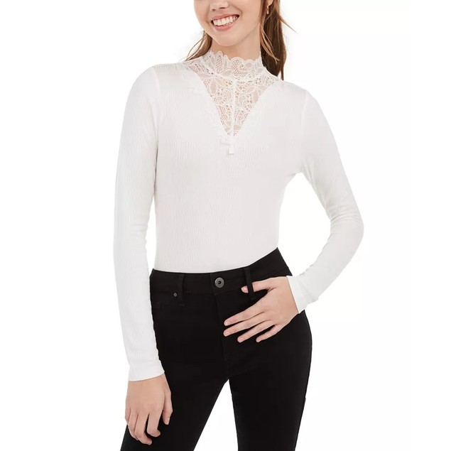 American Rag Juniors' Illusion Lace Mock-Neck Top White Size Large