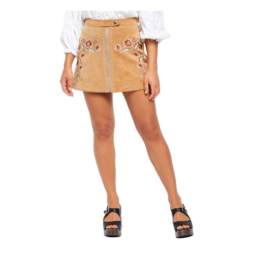 Free People Women's Faux Leather Floral Mini Pencil Skirt Brown Size 6