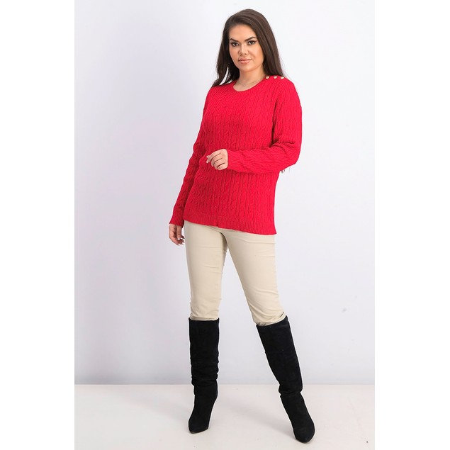 Charter Club Women's Cable-Knit Button-Trim Sweater Dark Red Size Medium