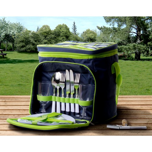 Insulated Picnic Basket Set Lunch Tote Backpack Cooler w/ Utensils Plates