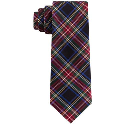 Tommy Hilfiger Men's Assorted Holiday Plaid Slim Ties Black Size Regular
