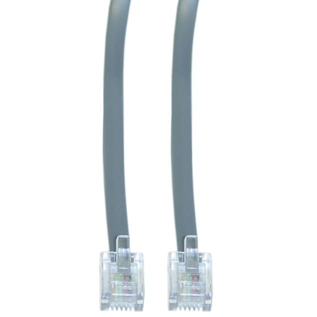 Telephone Cord (Data), RJ11, 6P / 4C, Silver Satin, Straight, 14 foot